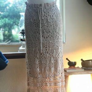 Boho Crochet Skirt,  fully lined